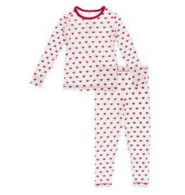 Kickee Pants Print L/S PJ Set Natural Hearts 6/12M-6