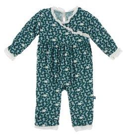 Kickee Pants L/S Kimono Ruffle Romper Jade Buffalo Clover