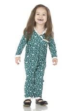 Kickee Pants Print L/S Kimono Ruffle Romper Jade Buffalo Clover