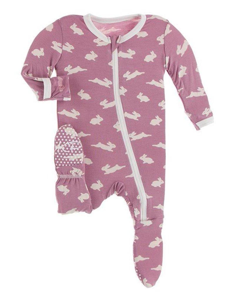 Kickee Pants Print Footie Zipper Pegasus Bunny