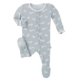 Kickee Pants Footie Zipper Pearl Blue Bunny 0/3-6/9M