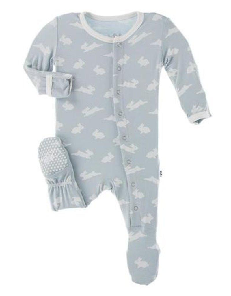 Kickee Pants Print Footie Zipper Pearl Blue Bunny
