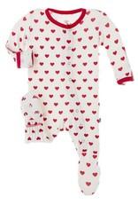 Kickee Pants Print Footie Zipper Natural Hearts