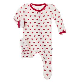 Kickee Pants Footie Zipper Natural Hearts 0/3M-6/9M