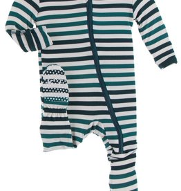 Kickee Pants Print Footie w/Zip Wildlife Stripe 0/3M-6/9M