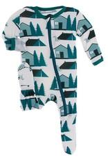 Kickee Pants Print Footie w/Zip Natural Cabin Tents