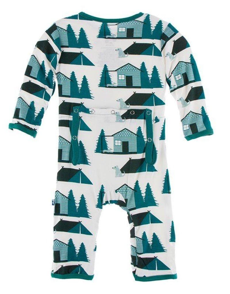 Kickee Pants Print Coverall Zipper Natural Cabin and Tents