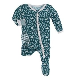 Kickee Pants Muffin Ruffle Footie w/zip Jade Running Buffalo 0/3M, 6/9M