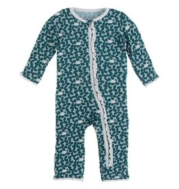 Kickee Pants Muffin Ruffle Coverall w/Zip Jade Running Buffalo 9/12M, 12/18M