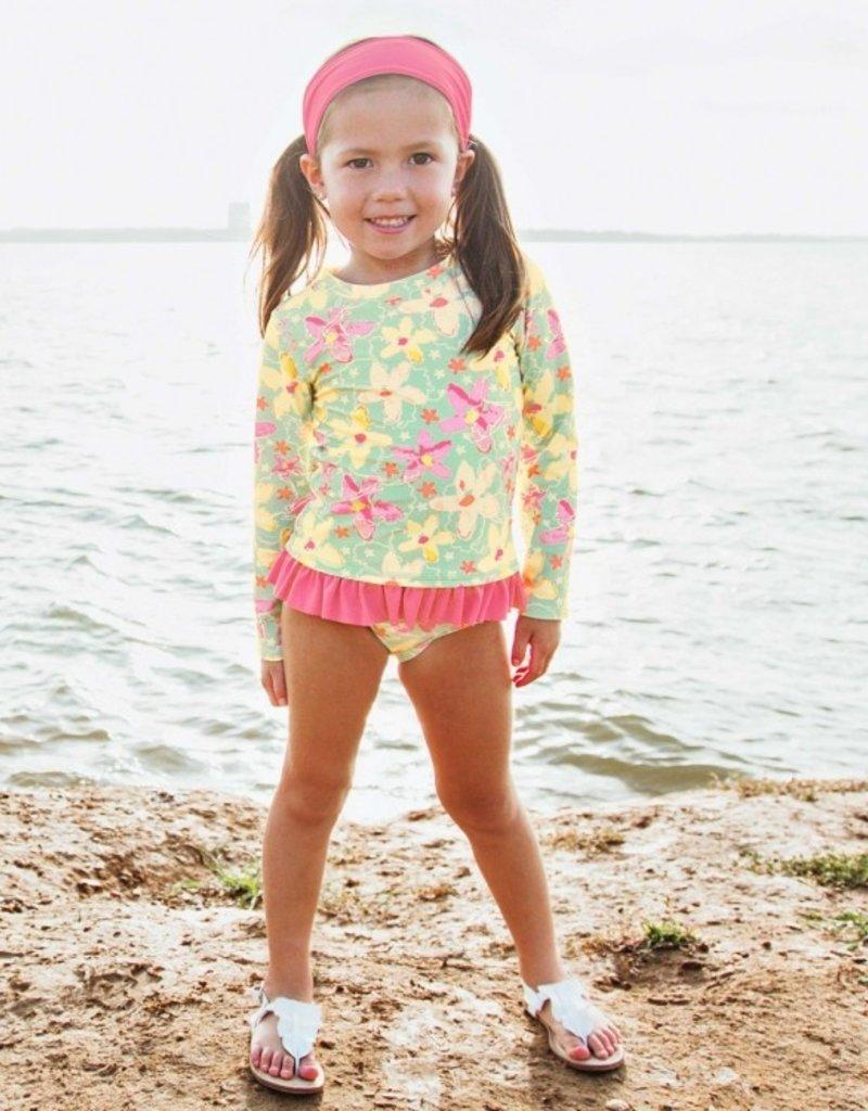 Ruffle Butts Waltzing on Water L/S Rash Guard Bikini