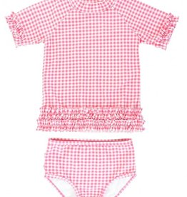 Ruffle Butts Rose Gingham Ruffled Rash Guard Bikini 6/12M-4T