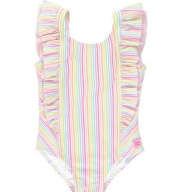 Ruffle Butts Rainbow Stripe Waterfall Swimsuit 6/12M-10