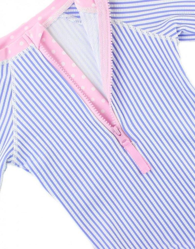 Ruffle Butts Periwinkle Blue Seersucker L/S 1 Pc Rash Guard