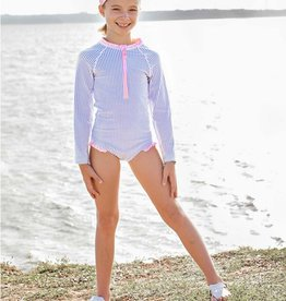 Ruffle Butts Periwinkle Seersucker L/S 1 Pc Rash Guard 2T-5