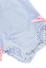 Ruffle Butts Periwinkle Blue Seersucker 1 Pc Rash Guard w/Pink Bows