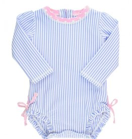Ruffle Butts Periwinkle Seersucker 1 Pc Rash Guard w/Ruffles 0/3M-3T