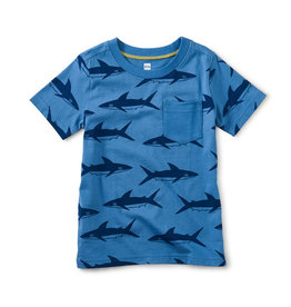 Tea Collection Printed Pocket Tee Azure Whales 2T-8
