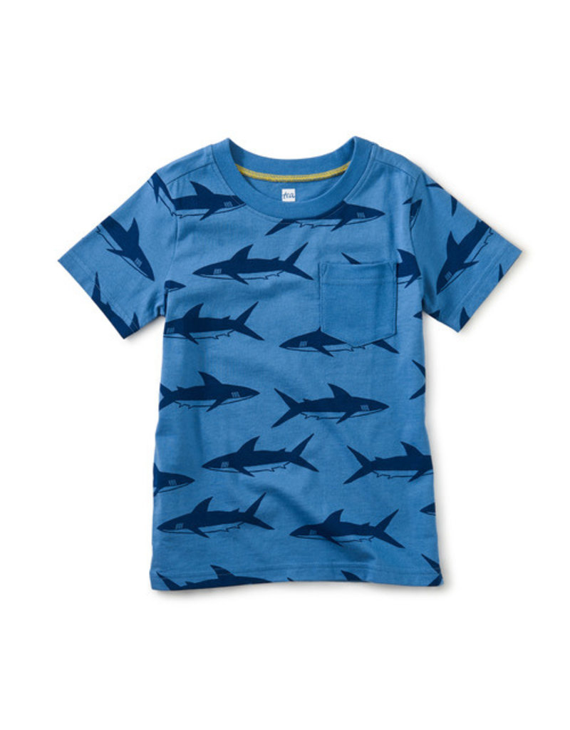 Tea Collection Printed Pocket Tee Azure Whales
