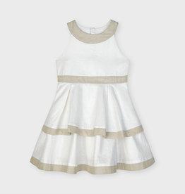 Mayoral Blotch Linen Dress Stone 2-7