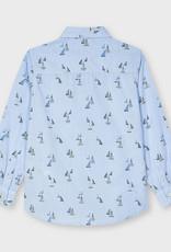 Mayoral L/S Sailboat Print Lt Blue Shirt
