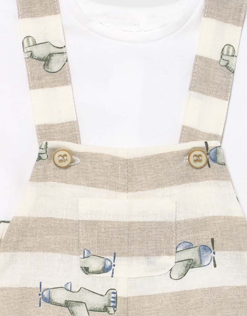 Mayoral Overall and Tee Set Linen Stripe w/Airplanes
