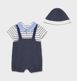 Mayoral Knit Navy Overall w/Cap