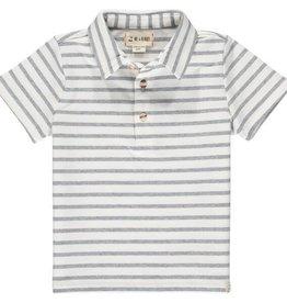Me & Henry Flagstaff Polo White/Grey Stripe 2/3-12