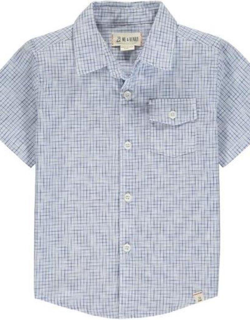 Me & Henry Newport S/S Shirt Blue/White Micro Plaid