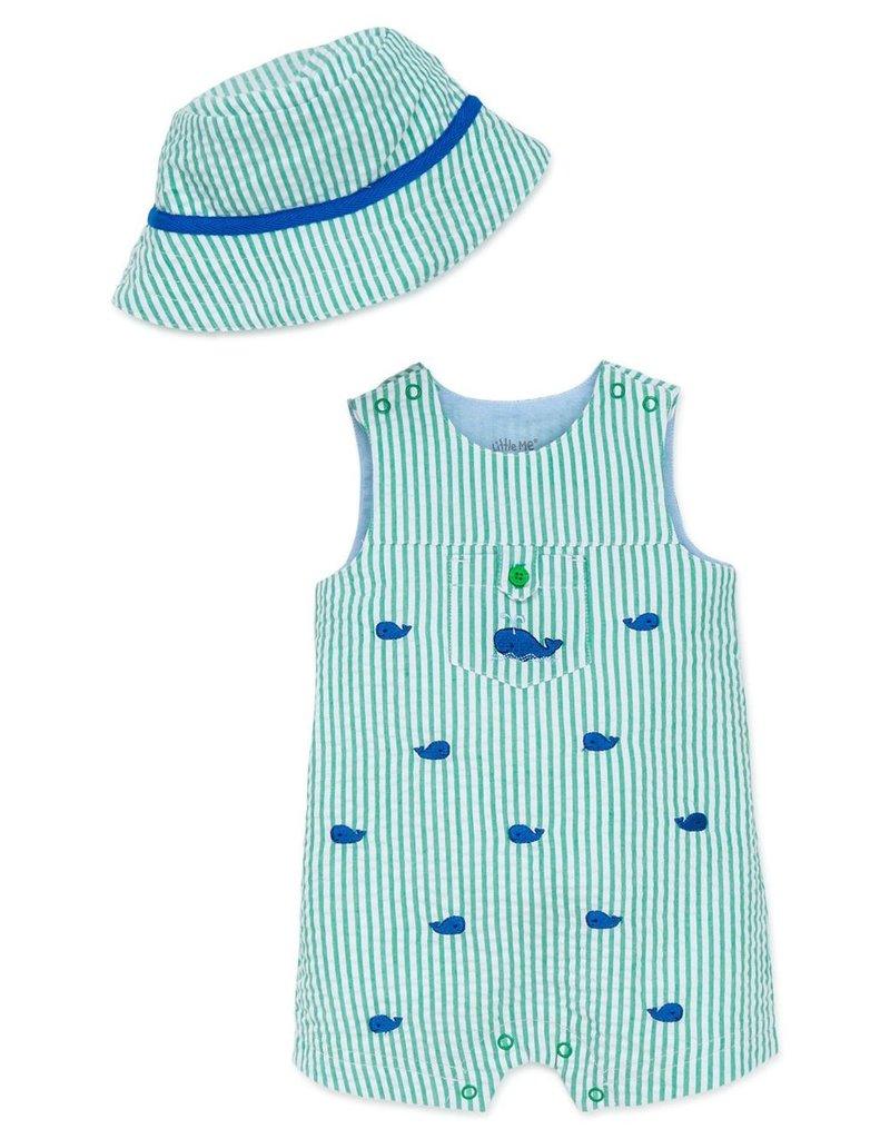 Little Me Whale Sunsuit w/Hat