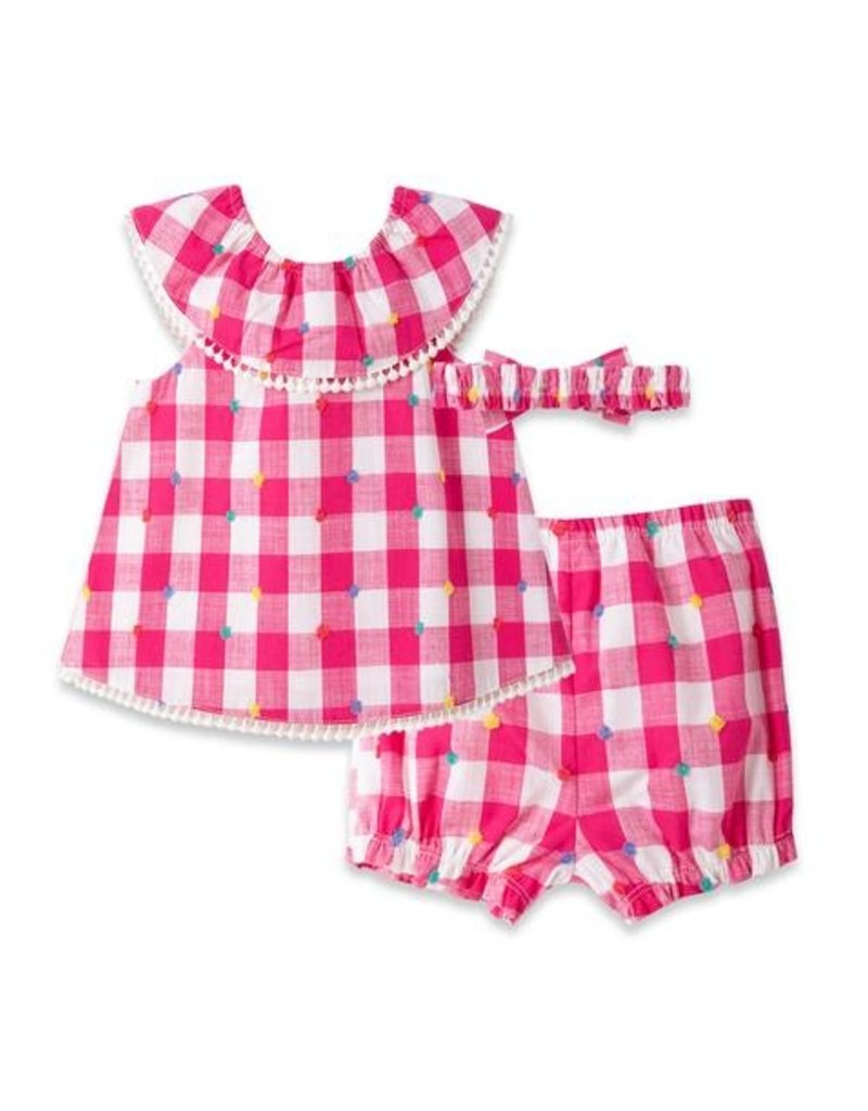 Little Me Textured Gingham Sunsuit Set