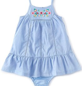 Little Me Embroidered Blue Sundress 12M-4T