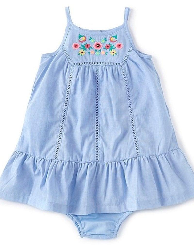 Little Me Embroidered Blue Sundress