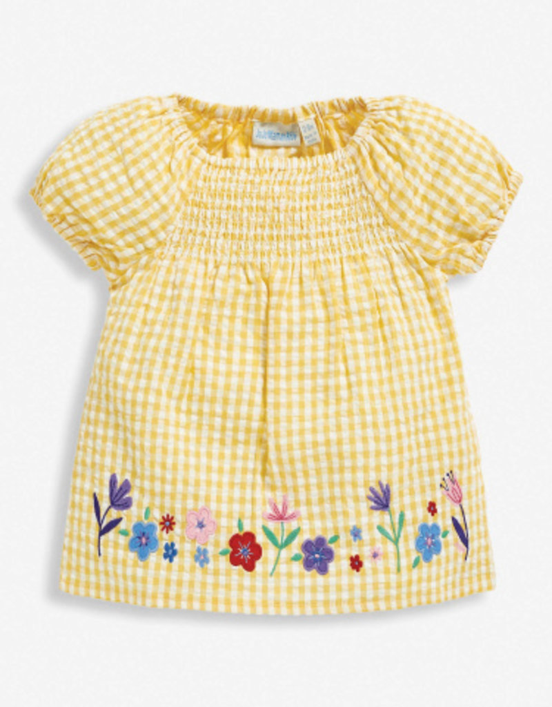 JoJo Maman BeBe Floral Applique Smock Top Yellow