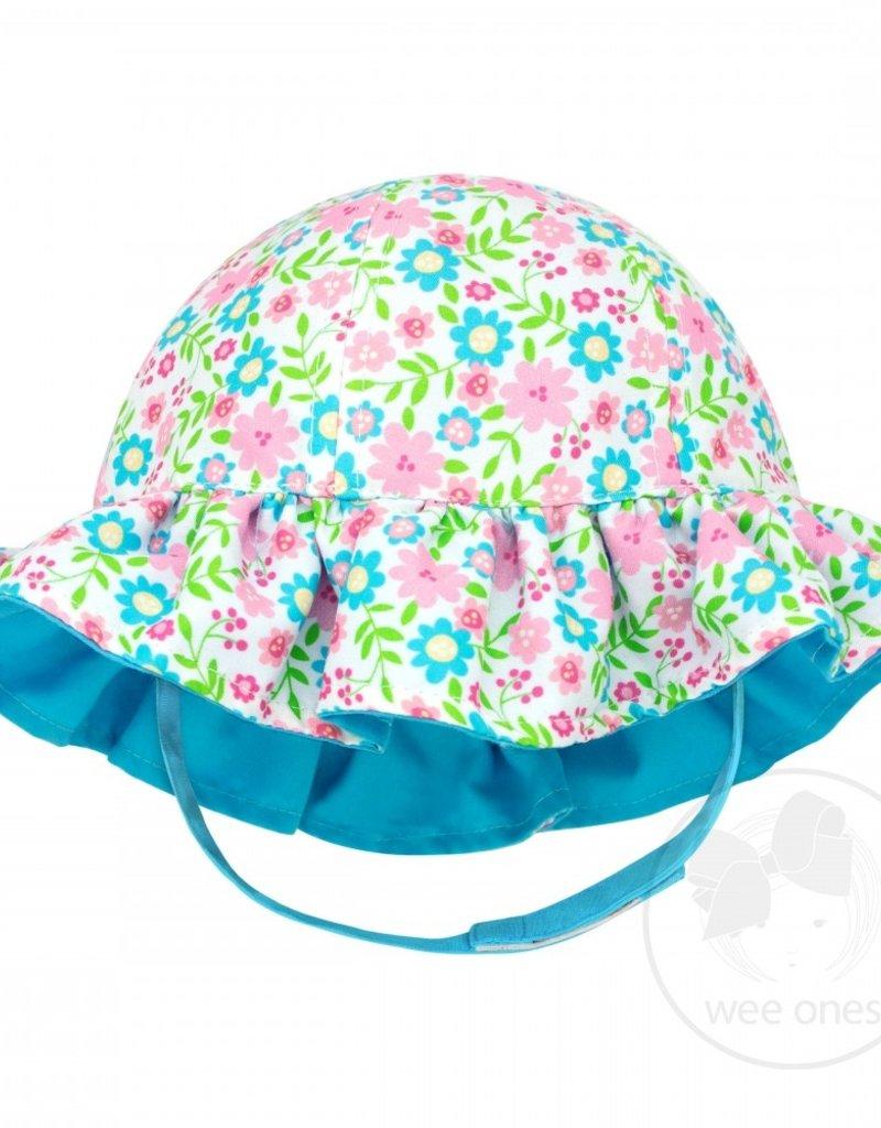 Wee Ones Reversible Ruffle Brim Sun Hat Floral