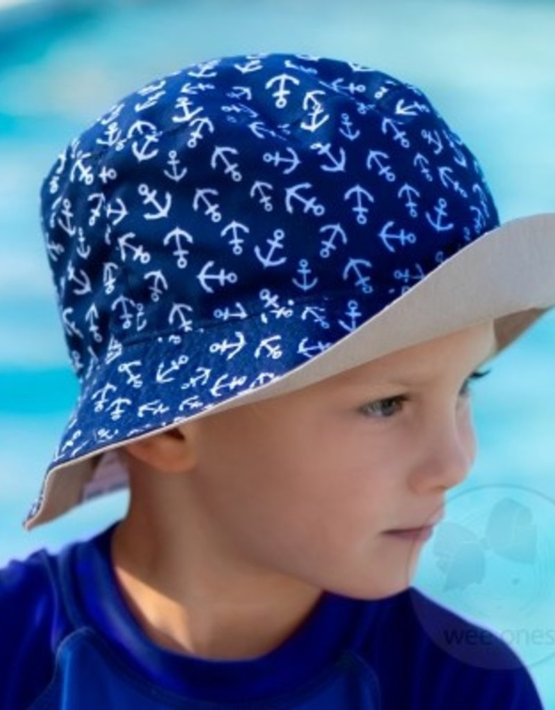 Wee Ones Reversible Boys Bucket Hat Anchors