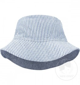 Wee Ones Reversible Bucket Hat Blue Seersucker 0/6M-2/4T