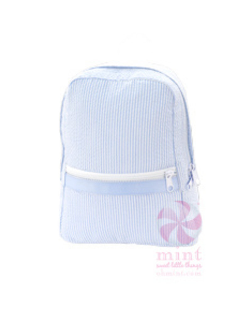 Mint Sweet Little Things Small Backpack Baby Blue Seersucker