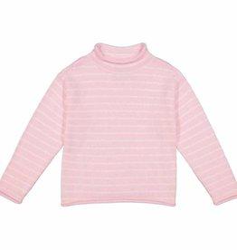 Classic Prep Fraser Roll Neck Sweater Pink/White Stripe