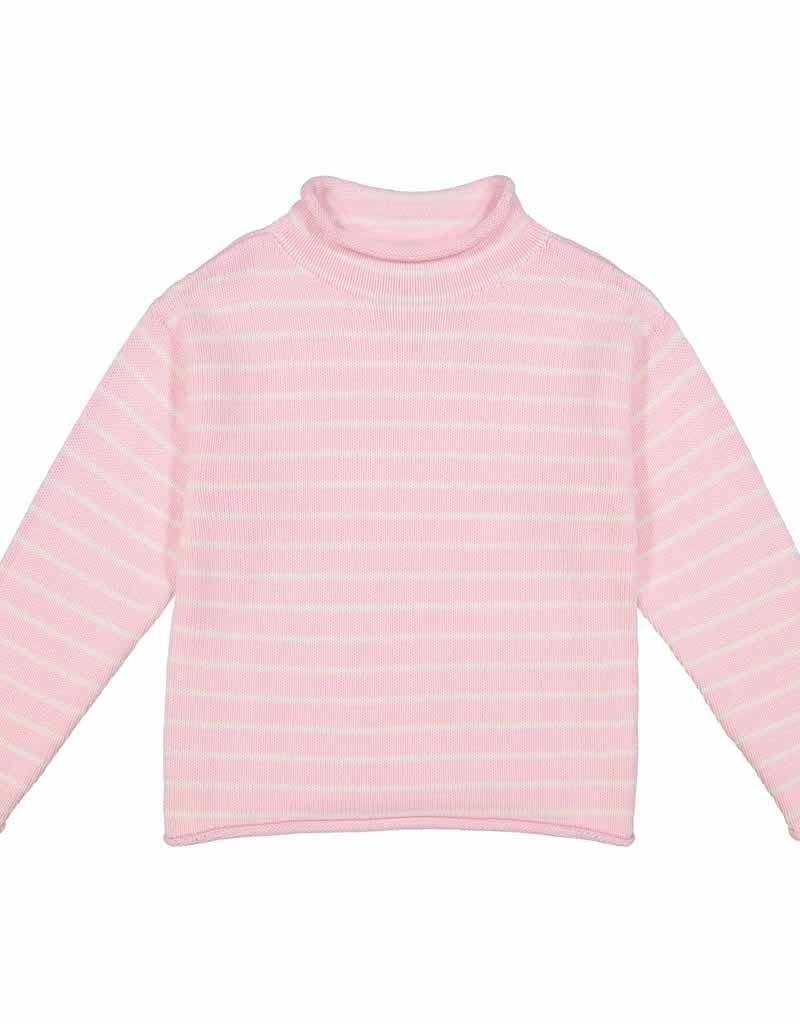 Classic Prep Fraser Roll Neck Sweater Lilly Pink/White Stripe