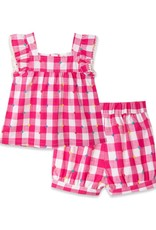 Little Me Gingham Woven Play Set Pink
