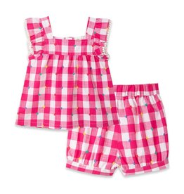 Little Me Gingham Woven Play Set Pink 12M-24M