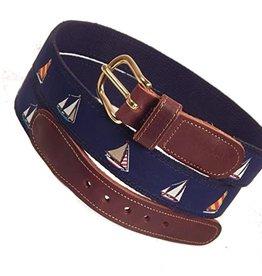 Preston Preston Leather Belt w/4 Sailboats