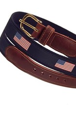 Preston Preston Leather Red Belt w/Flag