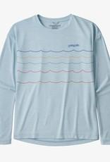 Patagonia Girls L/S Cap Cool Daily Tee WSFI Waves Stripe Fin Blue