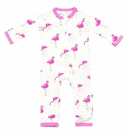 Kyte Baby Printed Zippered Romper Flamingo