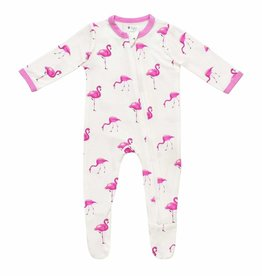 Kyte Baby Printed Zippered Footie  Flamingo