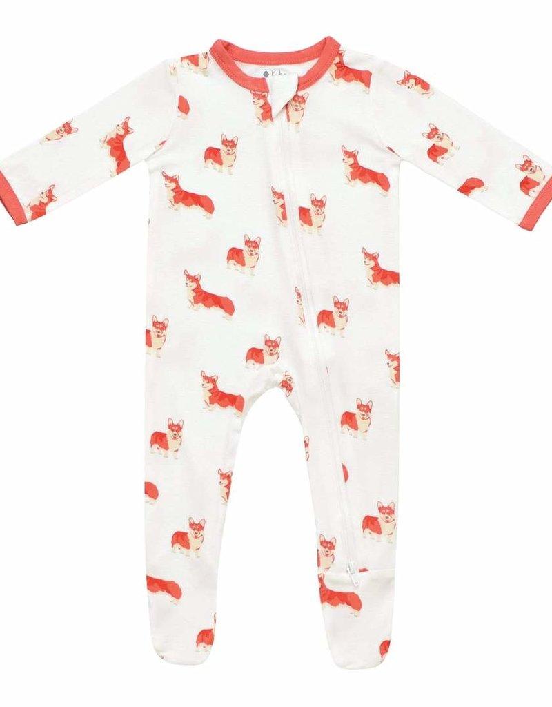 Kyte Baby Printed Zippered Footie Corgi