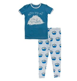 Kickee Pants S/S Graphic Tee PJ Set Illusion Blue Ramen 2T-8