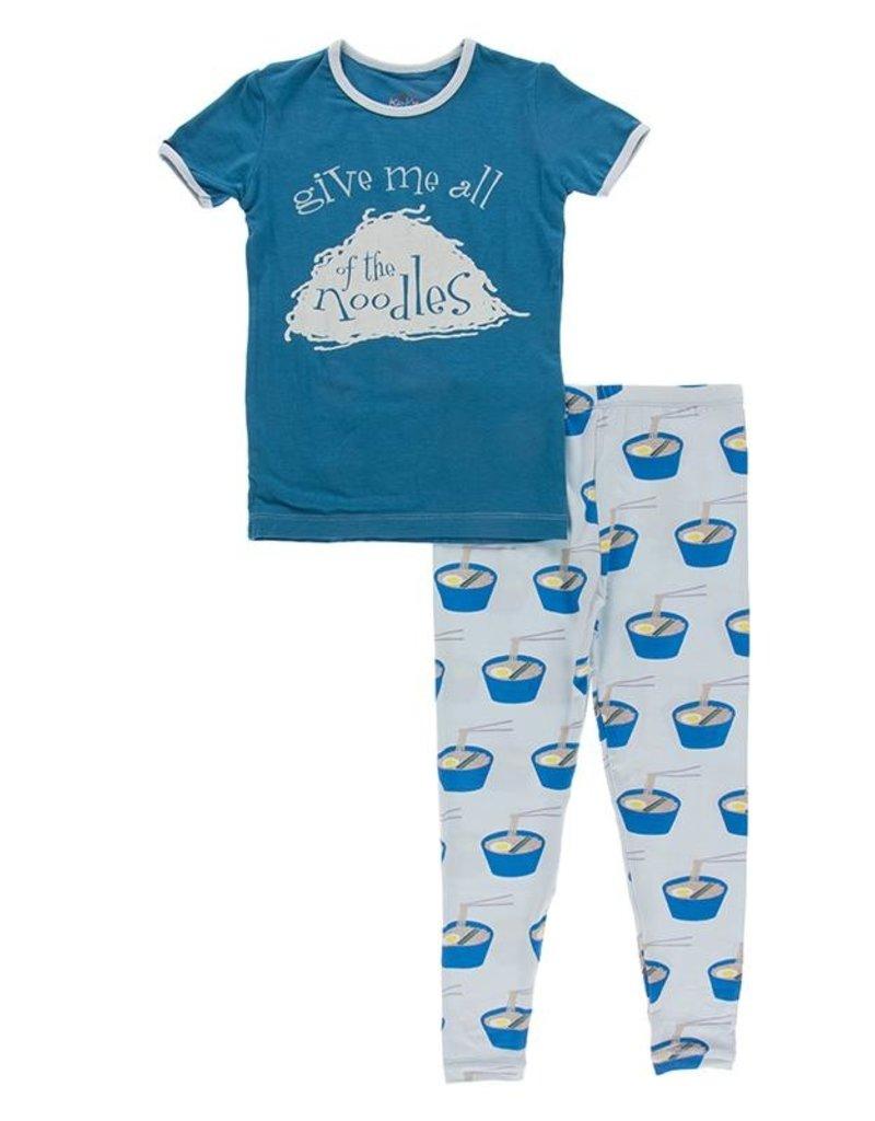 Kickee Pants S/S Graphic Tee PJ Set Illusion Blue Ramen