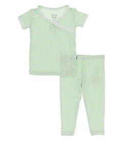 Kickee Pants S/S Scallop Kimono PJ Set Pistachio Chamomile